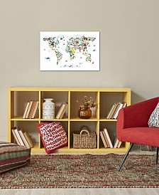 "iCanvas ""Animal Map of The World"" by Michael Tompsett Gallery-Wrapped Canvas Print"