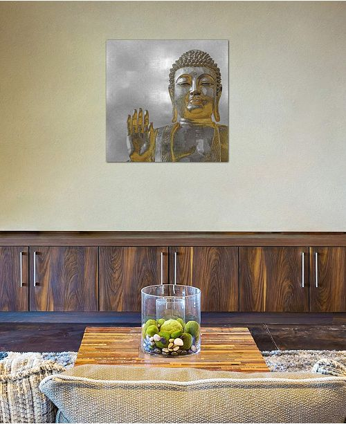 """iCanvas """"Silver And Gold Buddha"""" by Tom Bray Gallery-Wrapped Canvas Print (26 x 26 x 0.75)"""