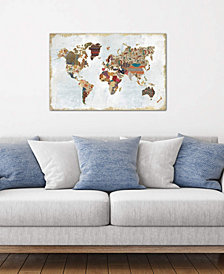 "iCanvas ""Pattern World Map"" by Laura Marshall Gallery-Wrapped Canvas Print (18 x 26 x 0.75)"