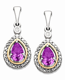 Sterling Silver and 14k Gold Earrings, Amethyst (3/4 ct. t.w.) and Diamond Accent Teardrop Earrings