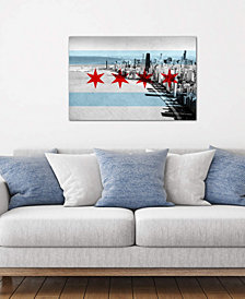 """iCanvas """"Chicago City Flag (Downtown Skyline)"""" by iCanvas Gallery-Wrapped Canvas Print"""
