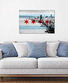 "iCanvas ""Chicago City Flag (Downtown Skyline)"" by iCanvas Gallery-Wrapped Canvas Print"