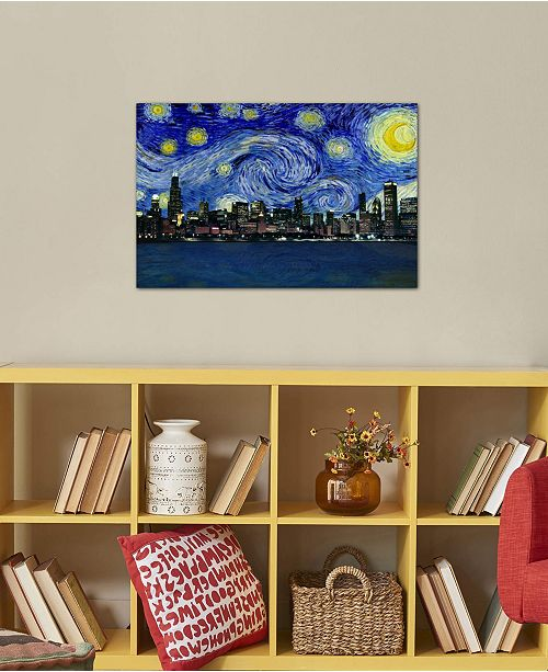 "iCanvas ""Chicago, Illinois Starry Night Skyline"" by 5by5collective Gallery-Wrapped Canvas Print (26 x 40 x 0.75)"