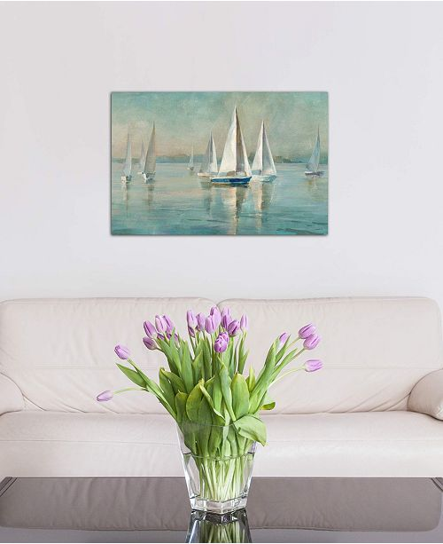 """iCanvas """"Sailboats at Sunrise"""" by Danhui Nai Gallery-Wrapped Canvas Print (26 x 40 x 0.75)"""