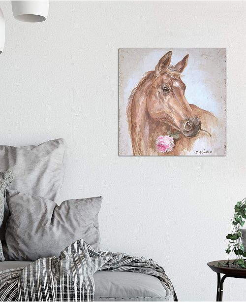"""iCanvas """"Horse With Rose"""" by Debi Coules Gallery-Wrapped Canvas Print (18 x 18 x 0.75)"""