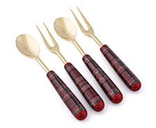Holiday Plaid Cocktail Forks & Spoons Set of 4