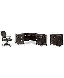 Clinton Hill Ebony Home Office, 3-Pc. Set (L-Shaped Desk, Lateral File Cabinet & Leather Desk Chair), Created for Macy's
