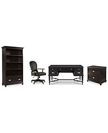 Clinton Hill Ebony Home Office, 4-Pc. Set (Writing Desk, Lateral File Cabinet, Open Bookcase & Leather Desk Chair), Created for Macy's