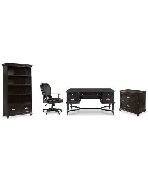 Furniture Clinton Hill Ebony Home Office, 4-Pc. Set (Writing Desk, Lateral File Cabinet, Open Bookcase & Leather Desk Chair), Created for Macy's