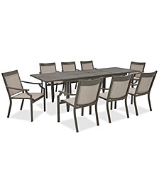 Rialto Outdoor Aluminum 9-Pc. Dining Set (Extension Dining Table And 8 Sling Dining Chairs), Created For Macy's