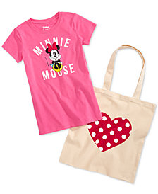 Disney Little Girls 2-Pc. Minnie Mouse Graphic-Print T-Shirt & Tote Bag Set
