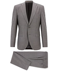 BOSS Men's Regular/Classic-Fit Patterned Virgin Wool Suit