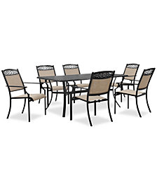 "Portofino Outdoor Cast Aluminum 7-Pc. Dining Set (68"" X 39"" Dining Table And 6 Sling Dining Chairs), Created For Macy's"
