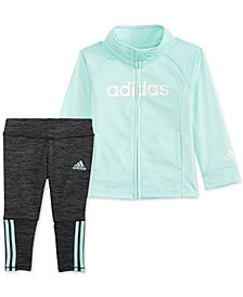 adidas Little Girls 2-Pc. Tricot Jacket & Three-Stripe Leggings Set
