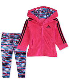 adidas Little Girls 2-Pc. Velour Track Jacket & Jogger Pants Set