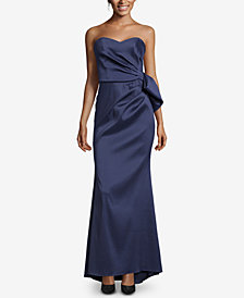 XSCAPE Strapless Bow-Front Evening Gown
