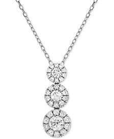Diamond Triple Cluster Adjustable Pendant Necklace (1/2 ct. t.w.) in 14k White Gold
