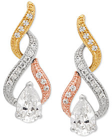 Cubic Zirconia Tricolor Swirl Drop Earrings in Sterling Silver & 14k Gold- and Rose Gold-Plate