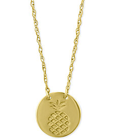 "Pineapple Disc Pendant Necklace in 10k Gold, 16"" + 2"" extender"