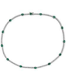 "Emerald (7 ct. t.w.) & White Topaz (2 ct. t.w.) 17"" Collar in Sterling Silver"