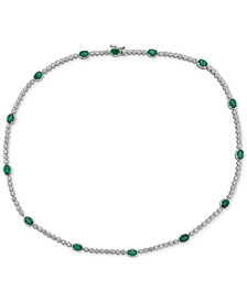 "Emerald (7 ct. t.w.) & White Topaz (2 ct. t.w.) 17"" Collar in Sterling Silver (Also in Sapphire & Tanzanite)"