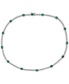 "Emerald (7 ct. t.w.) & White Topaz (2 ct. t.w.) 17"" Collar in Sterling Silver (Also in Sapphire)"