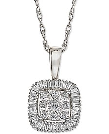 Diamond Framed Cluster Adjustable Pendant Necklace (1/3 ct. t.w.) in 14k White Gold