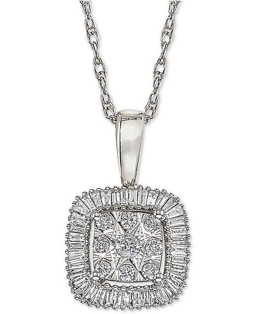 Macy's Diamond Framed Cluster Adjustable Pendant Necklace (1/3 ct. t.w.) in 14k White Gold