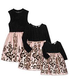 Rare Editions Baby, Toddler, Little & Big Girls Sister Velvet Satin Flocked Dresses