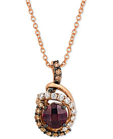 "Le Vian® Rhodolite (1-1/10 ct. t.w.) & Diamond (1/3 ct. t.w.) 18"" Pendant Necklace in 14k Rose gold"
