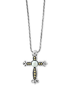 """EFFY® Cultured Freshwater Pearl (6mm) Cross 18"""" Pendant Necklace in Sterling Silver & 18k Gold"""