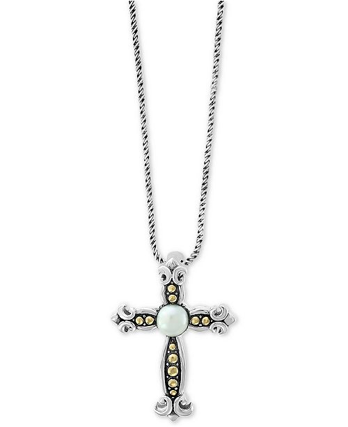 """EFFY Collection EFFY® Cultured Freshwater Pearl (6mm) Cross 18"""" Pendant Necklace in Sterling Silver & 18k Gold"""