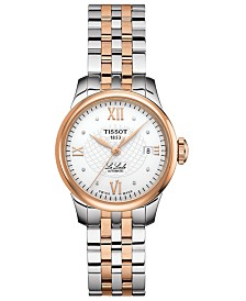 Tissot Women's Swiss Automatic T-Classic Le Locle Diamond-Accent Two-Tone PVD Stainless Steel Bracelet Watch 25.3mm
