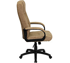 High Back Beige Fabric Executive Swivel Chair With Arms