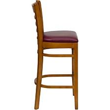 Hercules Series Ladder Back Cherry Wood Restaurant Barstool - Burgundy Vinyl Seat