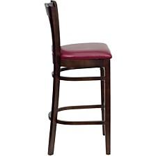 Hercules Series Vertical Slat Back Walnut Wood Restaurant Barstool - Burgundy Vinyl Seat