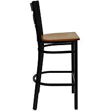 Hercules Series Black ''X'' Back Metal Restaurant Barstool - Cherry Wood Seat