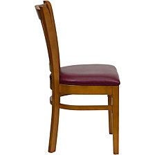 Hercules Series Vertical Slat Back Cherry Wood Restaurant Chair - Burgundy Vinyl Seat