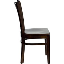 Hercules Series Vertical Slat Back Walnut Wood Restaurant Chair
