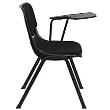 Black Padded Ergonomic Shell Chair With Left Handed Flip-Up Tablet Arm