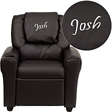 Personalized Brown Leather Kids Recliner With Cup Holder And Headrest