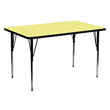 30''W X 60''L Rectangular Yellow Thermal Laminate Activity Table - Standard Height Adjustable Legs