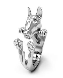 Bull Terrier Hug Ring in Sterling Silver
