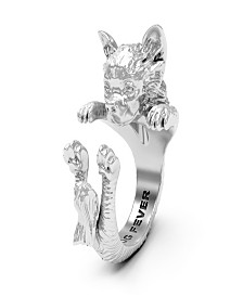 Chihuahua - Long Hair Hug Ring in Sterling Silver