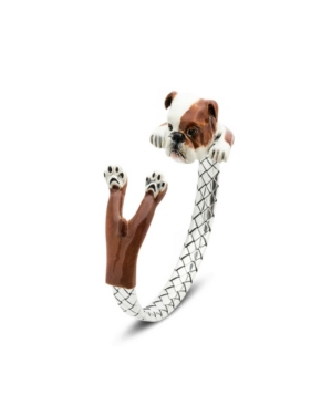 English Bulldog Adjustable Bracelet in Sterling Silver and Enamel -  Dog Fever