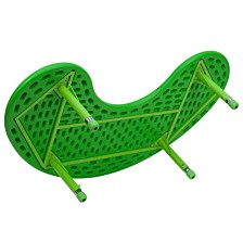 35''W X 65''L Half-Moon Green Plastic Height Adjustable Activity Table