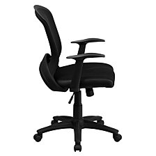Mid-Back Designer Black Mesh Swivel Task Chair With Arms