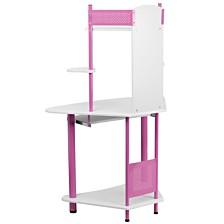 Pink Corner Computer Desk With Hutch