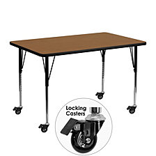 Mobile 24''W X 48''L Rectangular Oak Thermal Laminate Activity Table - Standard Height Adjustable Legs