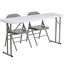18'' X 60'' Plastic Folding Training Table Set With 2 Gray Metal Folding Chairs